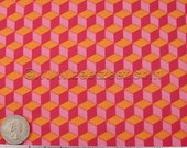 SALE - 5.3 Yards Michael Miller OPTICAL Building BLOCKS Pink Orange Quilt Fabric - price is for entire piece!
