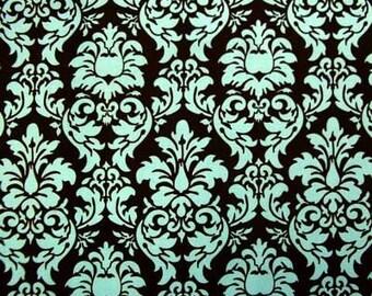 "Rare 1.8 Yds Michael Miller DANDY DAMASK AQUA Brown Quilt Fabric 1 Yard & 31"" Long Remnant"