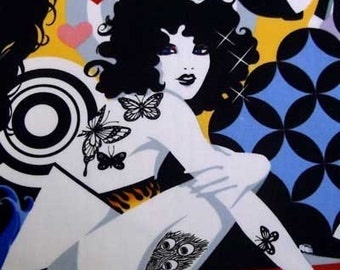 """Alexander Henry INKED Black Multi Mod GIRLS Quilt Fabric RARE and Out of Print Sold by the Fat Quarter Fq 18"""" x 21"""""""