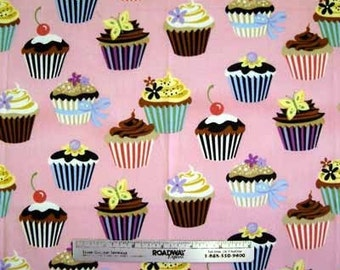 CUPCAKES PINK Cupcake Dessert Cotton Quilt Fabric by the Yard, Half Yard, or Fat Quarter Sweet Tooth Robert Kaufman