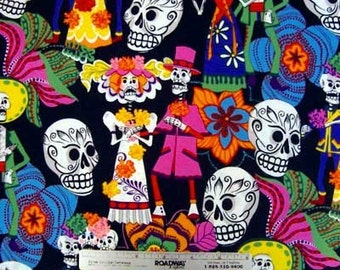 LOS NOVIOS BLACK Sugar Skulls Quilt Fabric by Alexander Henry Day of the Dead by the Yard, Half Yard, or Fat Quarter Fq Dios de los Muertos