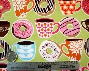 """Rare Michael Miller YUMMY DONUTS Coffee Quilt Fabric Fat Quarter 18"""" long by 21"""" wide Last Piece Precut Donut"""