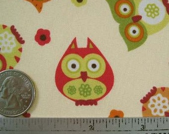 Rare Timeless Treasures APPLE OWLS Cream Quilt Fabric by the Quarter Yard Owl Cotton