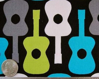 3 Yards - Michael Miller GROOVY GUITARS Lagoon Quilt Fabric