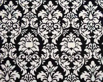 Michael Miller DANDY DAMASK Black & White Cotton Quilt Fabric Remnants and Fat Quarter Fq
