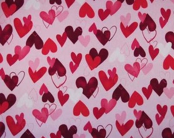 Valentine Heart Fabric - ALL MY HEART Pink Red Hearts Valentines Cotton Quilt Fabric by Yard, Half Yard, or Fat Quarter - Robert Kaufman
