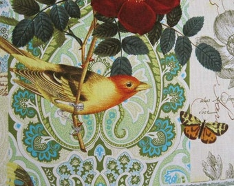 ANJOU POUR Vous Birds Flowers Butterfly Yellow Fabric by the Yard - Michael Miller French Journal Collection