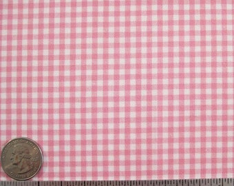 "GINGHAM CHECK 1/8"" Candy Pink White Cotton Quilt Fabric - 1 Yard (16 other colors available) - CUT on the grain so there is no waste"