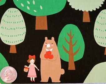 Japanese Kokka Trefle Little RED RIDING Hood Bear Trees on Black Quilt Fabric - by the Yard