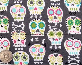 Skull Fabric Michael Miller BONEHEAD Grey Quilt Fabric - Sold by the Yard, Half Yard, or Fat Quarter FQ