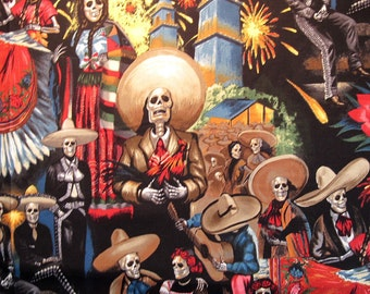 FIESTA De SAN MARCOS Black 1/2 Yard Quilt Fabric - Alexander Henry Day of the Dead Skeletons