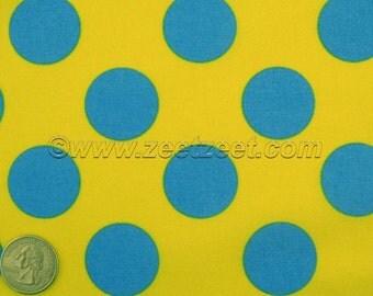 Lemon Yellow Turquoise Blue Large Polka Dot Kokka CANDY PARTY Quilt Fabric 1 Yard - Imported Japanese