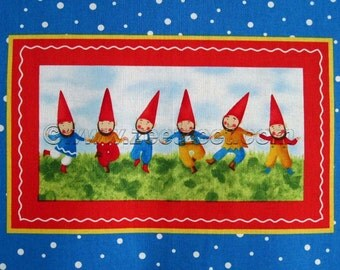 GNOME PANEL Wee Folks Quilt Fabric Panel - Primary Red Blue Wee Folks
