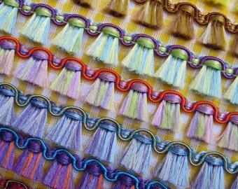 4 Yds BROOM FRINGE Trim - Choose One Color - Flat Decorative Sewing Trim