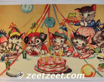 Michael Miller RUTHIE'S PARTY - Kittens and Puppies Quilt Panel by the Yard RARE Hard to Find