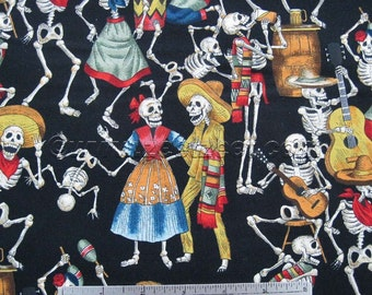 "FIESTA de los MUERTOS Black Skull Quilt Fabric by Alexander Henry - by the Yard, Half Yard, or Fat Quarter Fq Skeleton ""Day of the Dead"""
