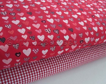 2 Yds LOVE HEARTS DUO Red Quilt Fabric 1 Yard Heart Fabric, 1 Yard Red Gingham Fabric Valentine Heart Pink