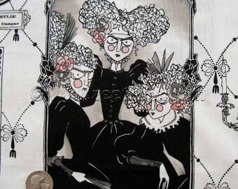 GHASTLIE GALLERY Cream Natural Alexander Henry Halloween Ghastlies Ghastly Quilt Fabric Family Album by the Yard