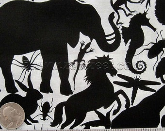 Sale - Alexander Henry ANIMAL KINGDOM Black & White Animals Quilt Fabric by the Precut Fat Quarter