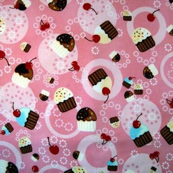 CONFECTIONS PINK Cupcake Cupcakes Cotton Quilt Fabric - by the Yard
