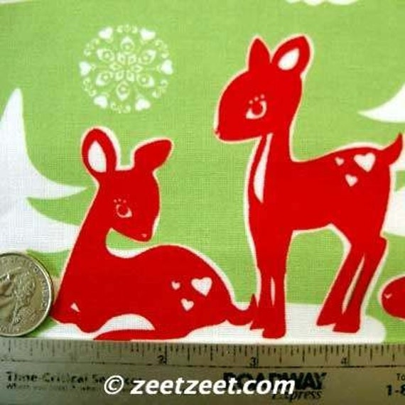 Michael Miller YULE CRITTERS LIME Reindeer Quilt Fabric 1 Yard