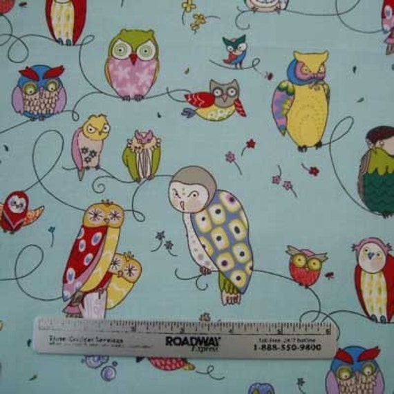 Alexander Henry SPOTTED OWL Aqua Owls Quilt Fabric 1 Yard