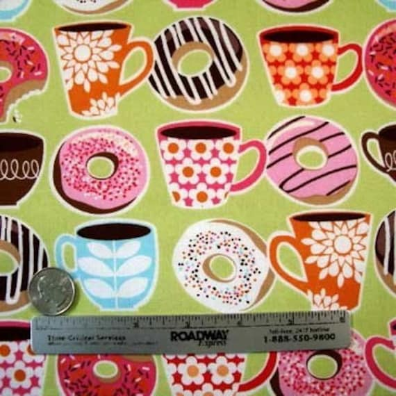 Rare Michael Miller YUMMY DONUTS Coffee Quilt Fabric Fat Quarter or Half Yard Donut