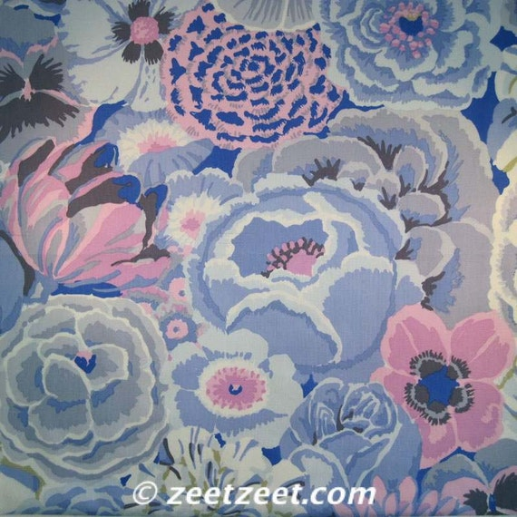 Sale Kaffe Fassett Bekah Gp69 Blue Floral Quilt Fabric By