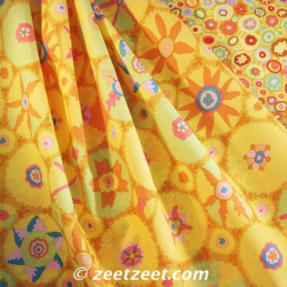 RARE Kaffe Fassett SUZANI Yellow Gp105 Quilt Fabric - by the Quarter Yard - Fat Quarter