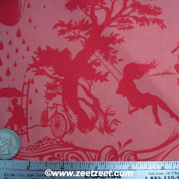 SILHOUETTE Coral Aqua Quilt Fabric 1 Yard - Prince Charming by Tula Pink for Free Spirit Fabrics