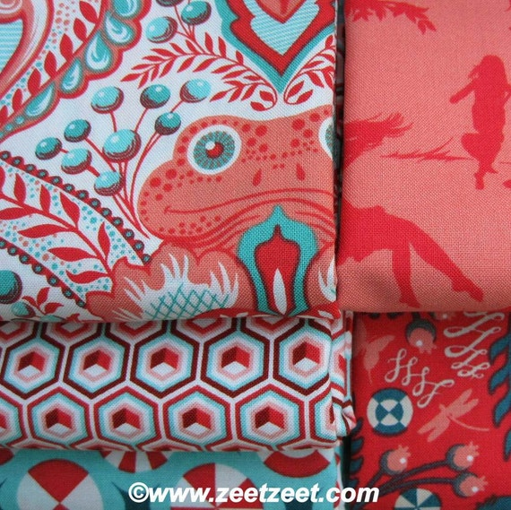 PRINCE CHARMING 5 FQ Set Red Coral Aqua Quilt Fabric 1.25 Yards - Fat Quarters - Prince Charming by Tula Pink for Free Spirit Fabrics