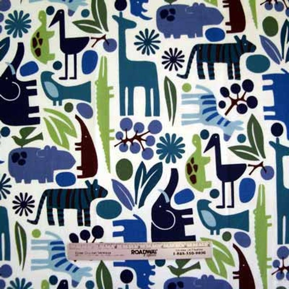 Alexander Henry 2-D ZOO Pool BLUE Mod Animals Quilt Fabric - by the Yard