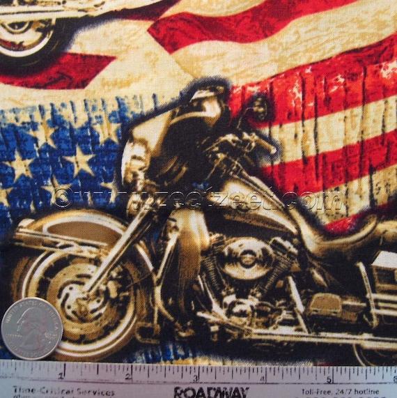 RARE - MOTORCYCLE Flag USA Quilt Fabric - 1 Yard - Harley Davidson Bike Biker