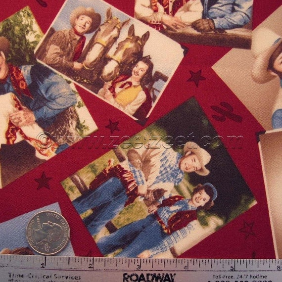 Roy ROGERS Happy Trails PHOTOS Red Quilt Fabric - RARE and Out of Print - by the Fat Quarter 1/4 Yard