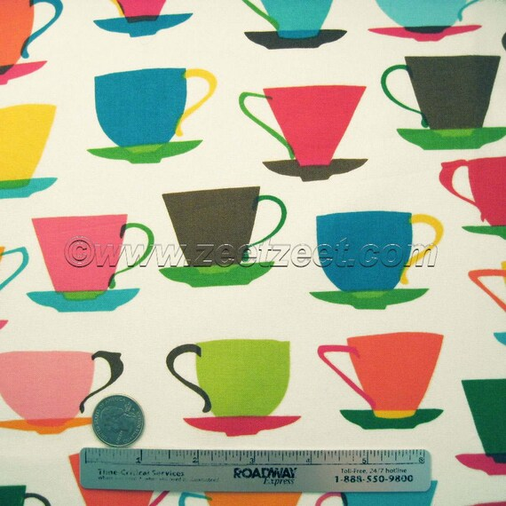 RARE Teacup Fabric - Robert Kaufman Metro Cafe Kitchen TEACUPS Cream Quilt Fabric by the Half Yard or Fat Quarter Fq