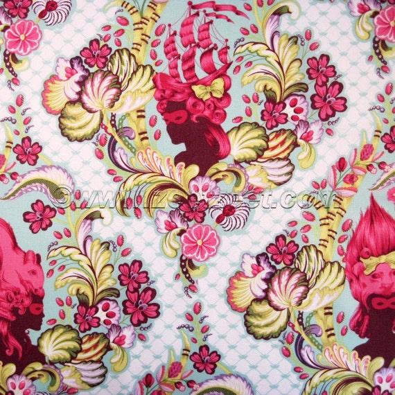 Parisville CAMEO Pomegranate TULA PINK Printed Quilt Fabric - 1 Yard - Parisville Collection Free Spirit Fabrics