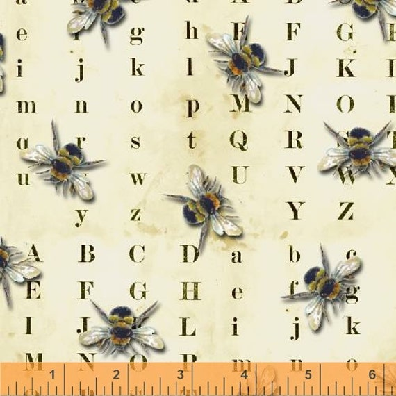 RARE - BEES Vintage LETTERS Quilt Fabric - Tracie Huskamp Mixed Media Collage Garden Tales - by the Half Yard or Fat Quarter