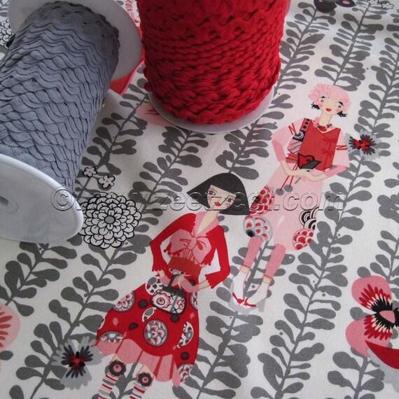 SALE - Alexander Henry RIVOLI GIRL Natural Gray Red Quilt Fabric 1 Yard Girls Fashion
