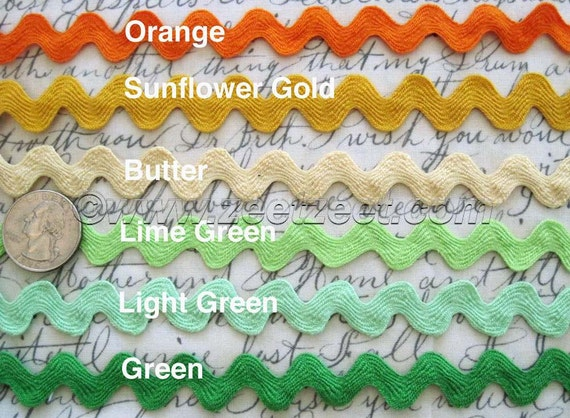 Choose from 25+ COLORS - 4 Yards 5/8-inch RIC RAC Colorful Sewing Trim - Select 1 Color - Rick Rack 1.58cm 4 Yard increments