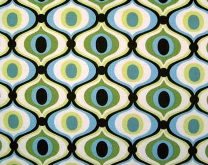 "1.9 Yds Michael Miller FEELING GROOVY Spa Blue Brown Cotton Mod Retro Quilt Fabric 1 Yard & 34"" Last Piece"