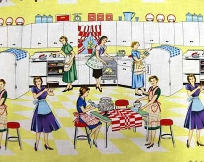 """Michael Miller HOME EC Yellow Red Retro 50s Vintage Kitchen Quilt Fabric Fifties - Choose 24"""" or 30"""" Length - 2 Full Repeats"""