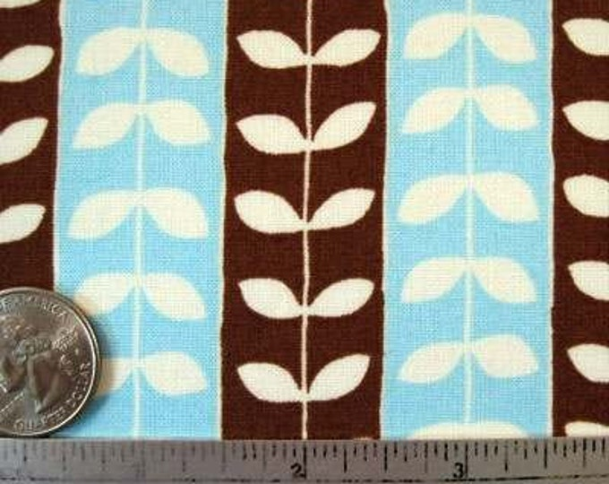 SALE - Robert Kaufman Mingle LEAFY STRIPE Brown Blue Quilt Fabric by the Yard