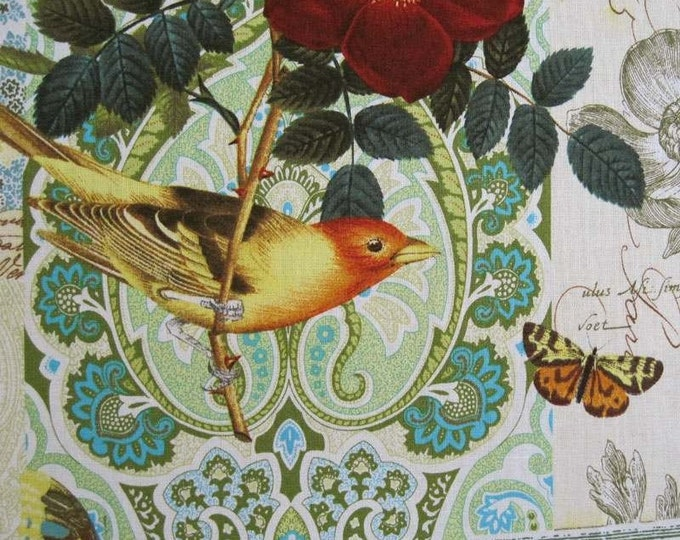 """2+ Yds ANJOU POUR Vous Birds Flowers Butterfly Yellow Fabric - 2 Yards and 6"""" long by 45"""" wide - Michael Miller French Journal Collection"""