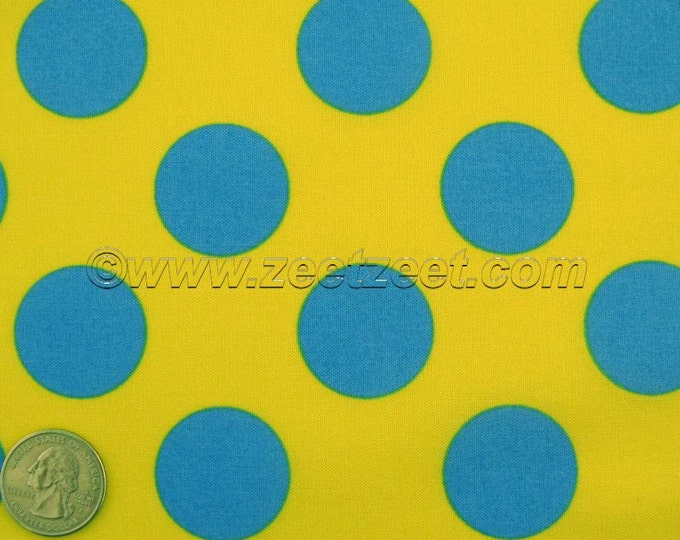 SALE Lemon Yellow Turquoise Blue Large Polka Dot Kokka CANDY PARTY Quilt Fabric by the Yard - Imported Japanese
