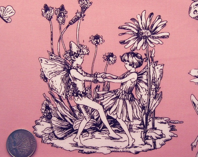 RARE Michael Miller FLOWER FAIRIES Toile, Pink Brown Quilt Fabric - Out of Print - Precut Remnants or Fat Quarter