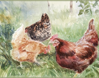 Backyard Chickens,Set os 6  Notecards from Original Watercolor Painting