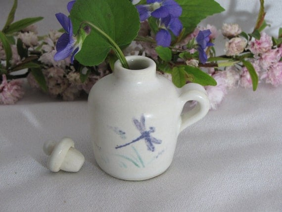 Violet Dragonfly Design Mini Jug Pottery