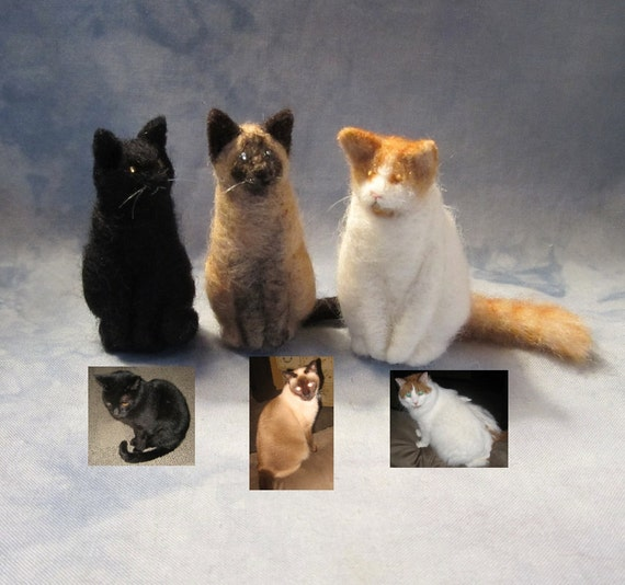 CUSTOM DEPOSIT from photos for one Needle-Felted Sitting Kitty (81412)