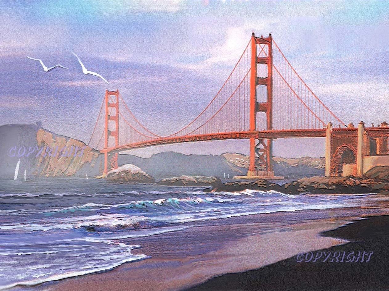 San Francisco Art Print Painting Golden Gate Bridge By