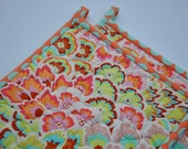 Amy Butler Pot Holders, Quilted Potholders, Soul Blossoms, Designer Potholders, Hotpads, Pot Holder